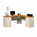 Harbor View Wooden 66'' Square Corner Computer Desk with Sliding Keyboard Shelf - Antiqued White [403793-FS-SRTA]
