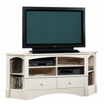 Harbor View 61''W x 27''H Wooden Corner Entertainment Center with 2 Adjustable Shelves - Antiqued White [402905-FS-SRTA]
