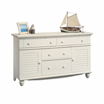 Harbor View 58''W x 34''H Wooden 4 Drawer Dresser with 2 Louver Doors - Antiqued White [158016-FS-SRTA]