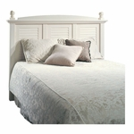 Harbor View 64.5''W x 51''H Wooden Headboard with Solid Wood Finials - Full/Queen - Antiqued White [158022-FS-SRTA]