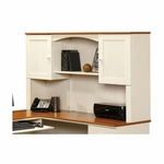 Harbor View 66''W x 36''H Wooden Hutch with Elevated Shelf - Antiqued White [403785-FS-SRTA]