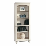 Harbor View 27.25''W x 72''H 5 Shelf Wooden Bookcase with 3 Adjustable Shelves - Antiqued White [158085-FS-SRTA]