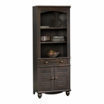 Harbor View 27.25''W x 72''H 3 Shelf Wooden Bookcase with Louver Doors - Antiqued Paint [401632-FS-SRTA]