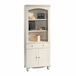 Harbor View 72''H 3 Shelf Wooden Bookcase with Louver Doors - Antiqued White [158082-FS-SRTA]