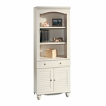 Harbor View 27.25''W x 72''H 3 Shelf Wooden Bookcase with Louver Doors - Antiqued White [158082-FS-SRTA]