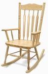 Solid Hardwood Adult Sized Rocking Chair in Clear Non-Toxic Lacquer Finish [WB5536-FS-WBR]