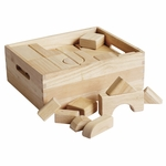 64 Piece Hand-Sanded Solid Hardwood Building Block Set with Storage Tub - Uniform 1.25''W [ELR-19001-ECR]
