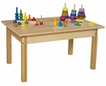 Solid Hardwood Table with Rounded Child Safe Corners and Non-Toxic Natural Finish-Rectangle - 36''W x 24''D x 19''H [82318-WDD]