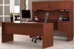 Harmony U-Shaped Computer Workstation with Locking Drawers and Keyboard Shelf - Bordeaux and Charcoal [52411-39-FS-BS]