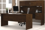 Harmony U-Shaped Computer Workstation with Locking Drawers and Keyboard Shelf - Chocolate [52411-69-FS-BS]