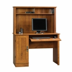 Harvest Mill 43''W x 26''H Wooden Computer Desk and Hutch with Flip-Down Molding - Abbey Oak [404961-FS-SRTA]