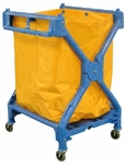 Heavy-Duty 36''H Folding Square Laundry Cart with Nylon Laundry Bag [HL13-FS-LUX]