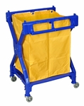 Folding Laundry Cart with Yellow Nylon Laundry Bag - Blue Frame - 25''W x 25''D x 36.5''H [HL13-FS-LUX]