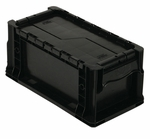 Heavy Duty Straight Wall Stack Container in Black [RSO1408-7-QSS]