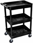 Heavy Duty Multi-Purpose Mobile Tub Utility Cart with 3 Tub Shelves - Black - 24''W x 18''D x 36.5''H [STC111-B-FS-LUX]
