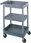 Heavy Duty 18''D x 24''W Multi-Purpose Mobile Tub Utility Cart with 3 Shelves [STC121-FS-LUX]