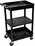 Heavy Duty Multi-Purpose Mobile Tub Utility Cart with 1 Flat Shelf and 2 Tub Shelves - Black - 24''W x 18''D x 36.5''H [STC121-B-FS-LUX]