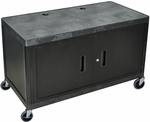 Heavy Duty Rectangular Mobile Workcenter with Lockable Sliding Cabinet - Black - 48''W x 24''D x 24''H [LEW29C-B-FS-LUX]