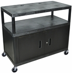 Heavy Duty Rectangular Mobile Workcenter with Lockable Sliding Cabinet - Black - 48''W x 24''D x 38''H [LEW40C-B-FS-LUX]