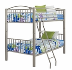 Heavy Metal Pewter Twin Over Twin Bunk Bed [941-138-FS-PO]