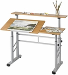 47.25'' W x 29.75'' D x 26'' H Adjustable Height Split Level Drafting Table - Medium Oak [3965MO-FS-SAF]