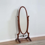 Heirloom Cherry Cheval Mirror with Antique Brass Accents [998-773-FS-PO]