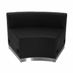 HERCULES Alon Series Black Leather Concave Chair with Brushed Stainless Steel Base [ZB-803-INSEAT-BK-GG]