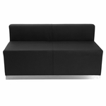 HERCULES Alon Series Black Leather Loveseat with Brushed Stainless Steel Base [ZB-803-LS-BK-GG]