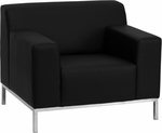 HERCULES Definity Series Contemporary Black Leather Chair with Stainless Steel Frame [ZB-DEFINITY-8009-CHAIR-BK-GG]