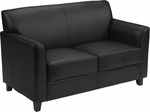 HERCULES Diplomat Series Black Leather Loveseat [BT-827-2-BK-GG]