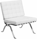 HERCULES Flash Series White Leather Lounge Chair with Curved Legs [ZB-FLASH-801-CHAIR-WHITE-GG]