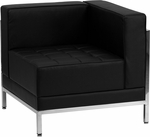 HERCULES Imagination Series Contemporary Black Leather Right Corner Chair with Encasing Frame [ZB-IMAG-RIGHT-CORNER-GG]
