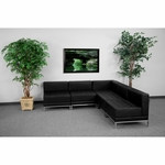 HERCULES Imagination Series Black Leather Sectional Configuration,5 Pieces [ZB-IMAG-SECT-SET5-GG]