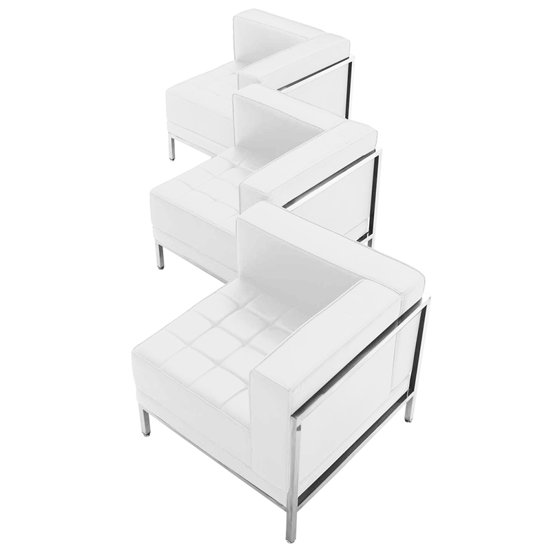 Hercules Imagination Series White Leather 3 Piece Corner Chair Set Zb Imag Set4 Wh Gg By Flash