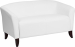 HERCULES Imperial Series White Leather Loveseat [111-2-WH-GG]