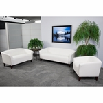 HERCULES Imperial Series Reception Set in White with Free Coffee and End Table [111-SET-WH-GG]