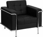 HERCULES Lesley Series Contemporary Black Leather Chair with Encasing Frame [ZB-LESLEY-8090-CHAIR-BK-GG]