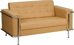 HERCULES Lesley Series Contemporary Light Brown Leather Loveseat with Encasing Frame [ZB-LESLEY-8090-LS-BRN-GG]
