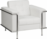 HERCULES Lesley Series Contemporary White Leather Chair with Encasing Frame [ZB-LESLEY-8090-CHAIR-WH-GG]