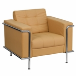 HERCULES Lesley Series Contemporary Light Brown Leather Chair with Encasing Frame [ZB-LESLEY-8090-CHAIR-BRN-GG]