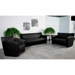 HERCULES Majesty Series Reception Set in Black with Free Coffee and End Table [222-SET-BK-GG]