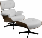HERCULES Presideo Series Top Grain White Italian Leather Lounge Chair and Ottoman Set with Metal Base [ZB-PRESIDEO-CH-001-OTT-WHITE-GG]