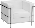 HERCULES Regal Series Contemporary White Leather Chair with Encasing Frame [ZB-REGAL-810-1-CHAIR-WH-GG]
