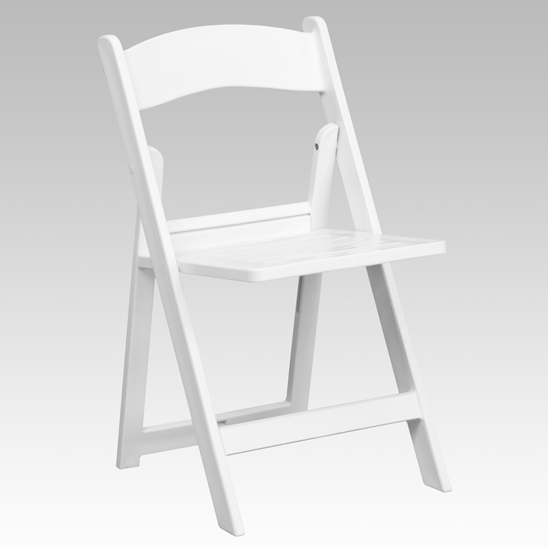 HERCULES Series 1000 lb Capacity White Resin Folding Chair with Slatted Seat
