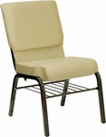 HERCULES Series 18.5''W Beige Patterned Fabric Church Chair with 4.25'' Thick Seat,Book Rack - Gold Vein Frame [XU-CH-60096-BGE-BAS-GG]