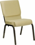 HERCULES Series 18.5''W Beige Patterned Fabric Stacking Church Chair with 4.25'' Thick Seat - Gold Vein Frame [XU-CH-60096-BGE-GG]