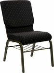 HERCULES Series 18.5''W Black Dot Patterned Fabric Church Chair with 4.25'' Thick Seat,Book Rack - Gold Vein Frame [XU-CH-60096-BK-BAS-GG]
