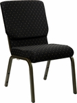 HERCULES Series 18.5''W Black Dot Patterned Fabric Stacking Church Chair with 4.25'' Thick Seat - Gold Vein Frame [XU-CH-60096-BK-GG]