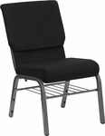 HERCULES Series 18.5''W Black Fabric Church Chair with 4.25'' Thick Seat,Book Rack - Silver Vein Frame [XU-CH-60096-BK-SV-BAS-GG]