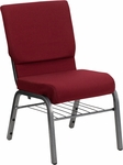 HERCULES Series 18.5''W Burgundy Fabric Church Chair with 4.25'' Thick Seat,Book Rack - Silver Vein Frame [XU-CH-60096-BY-SILV-BAS-GG]